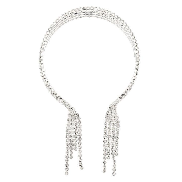 Silver Rhinestone Fringe Cuff Bracelet,