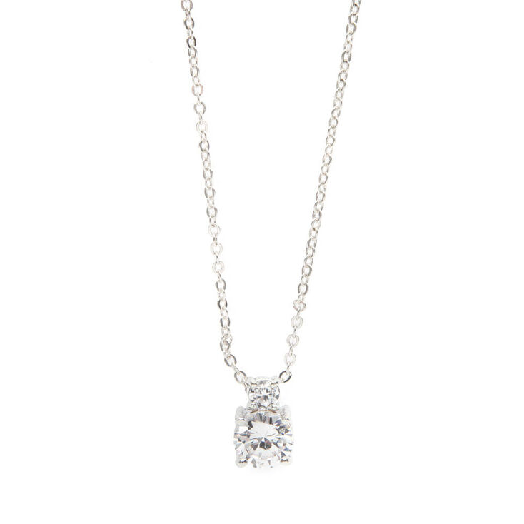 Stacked Round Cubic Zirconia Pendant Necklace,