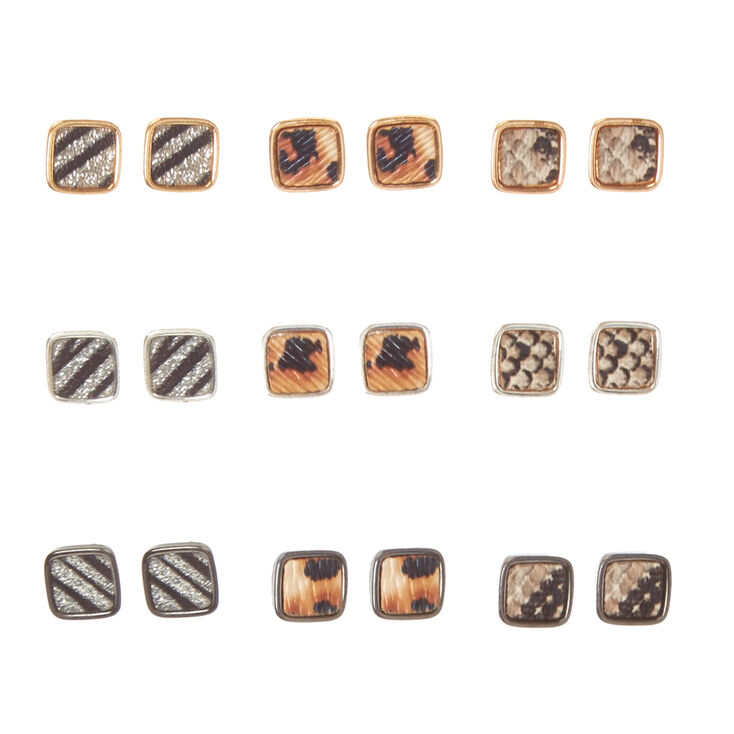 Mixed Metal Animal Print Square Stud Earrings,