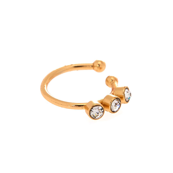 Gold Glass Stone Faux Nose Ring,