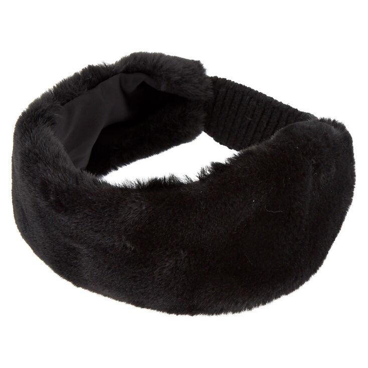 Faux Fur Ear Muff Headband - Black,