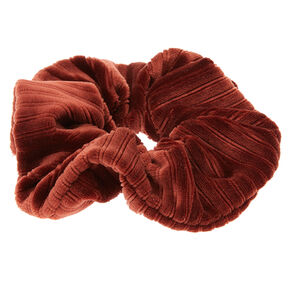 Ribbed Velvet Hair Scrunchie - Brown,