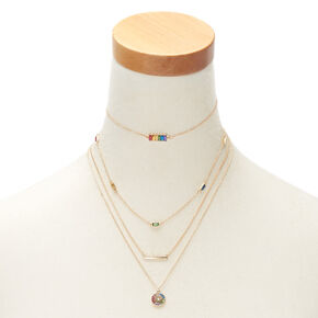 Gold Rainbow Necklaces - 4 Pack,