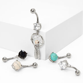 Silver 14G Boho Dreams Mixed Belly Rings - 5 Pack,