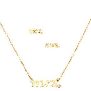Gold Mrs. Bridal Jewelry Set - 2 Pack,