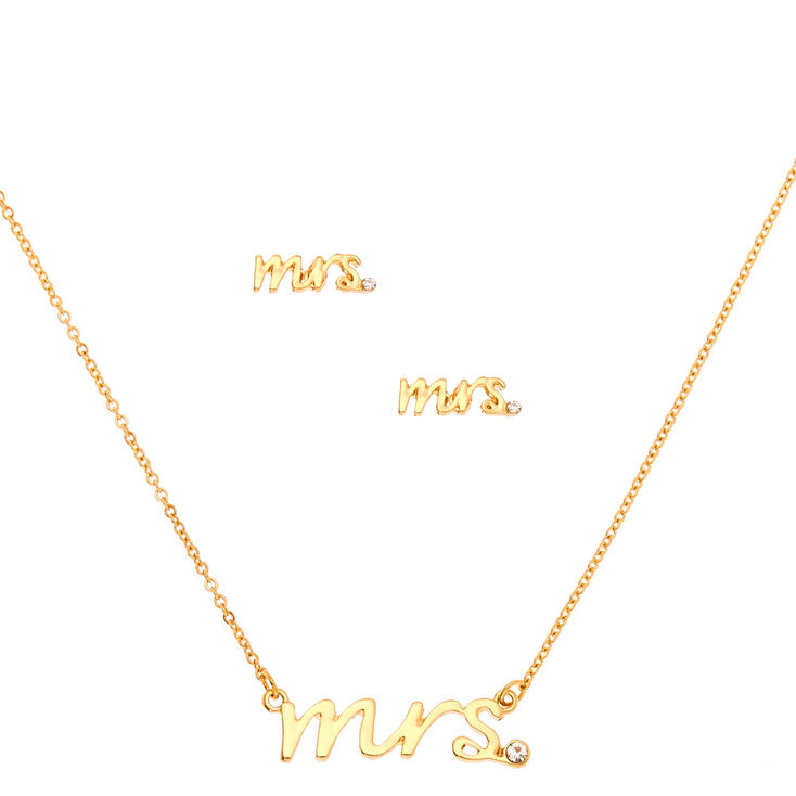 Gold Mrs. Bridal Jewelry Set - 2 Pack,