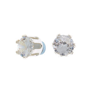 Silver Cubic Zirconia 6MM Round Magnetic Stud Earrings,