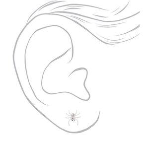 Silver Crystal Spider Stud Earrings,
