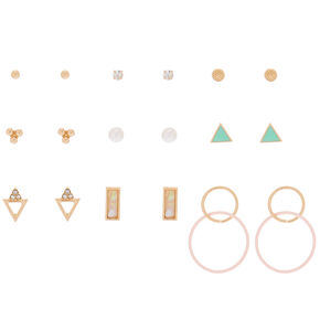 Gold Mixed Stud Earrings - 9 Pack,