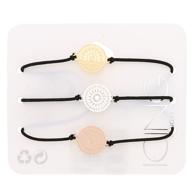 Mixed Metal Filigree Stretch Bracelets - 3 Pack,