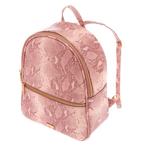 Snakeskin Midi Backpack - Pink,
