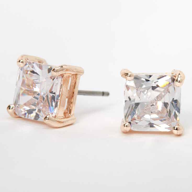 Rose Gold Cubic Zirconia Square Stud Earrings - 8MM,