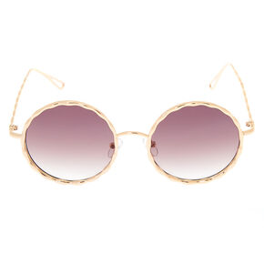 Round Gold Textured Sunglasses,