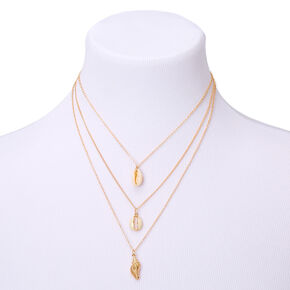 Gold Shell Multi Strand Necklace,
