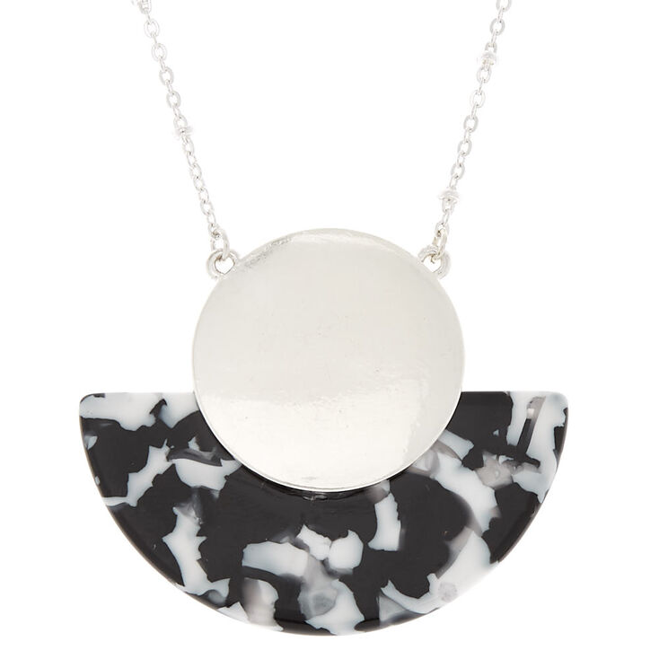 Black & White Resin Half Moon Long Pendant Necklace,
