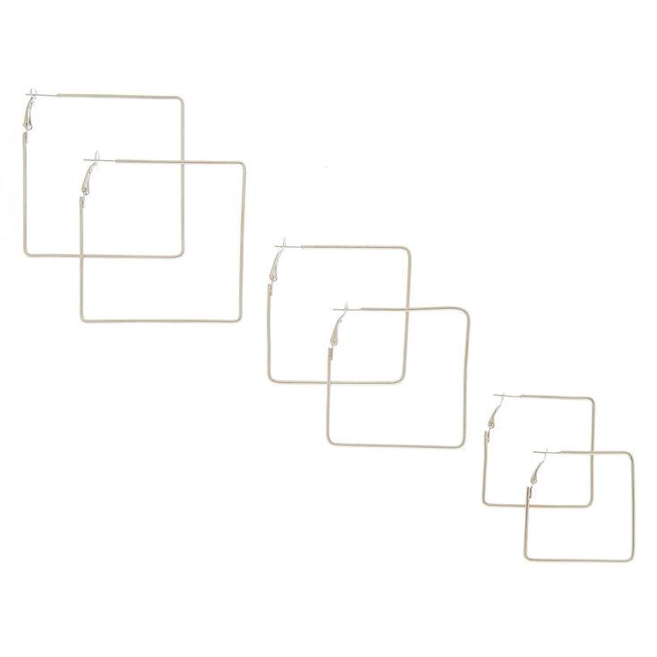 Silver Graduated Square Hoops Earrings - 3 Pack,