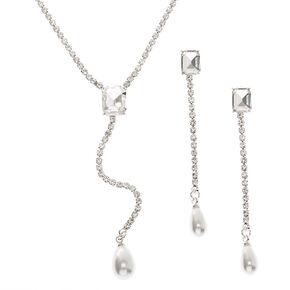 Silver Rhinestone Y-Neck Jewelry Set - 2 Pack,