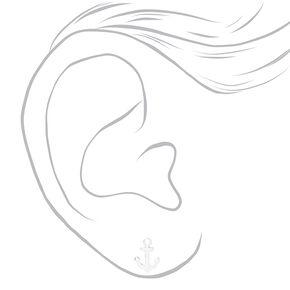 Sterling Silver Anchor Stud Earrings,