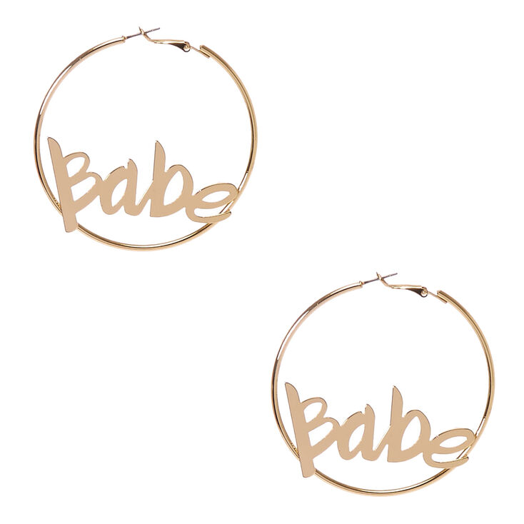 Babe Gold Hoop Earrings,