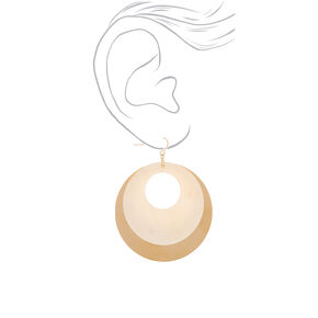 "Gold 2.5"" Open Seashell Drop Earrings - White,"