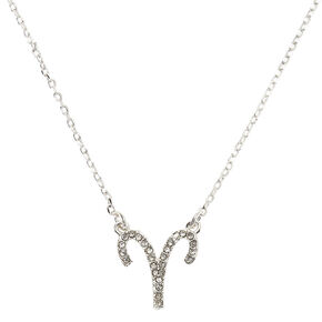 Silver Zodiac Pendant Necklace - Aries,