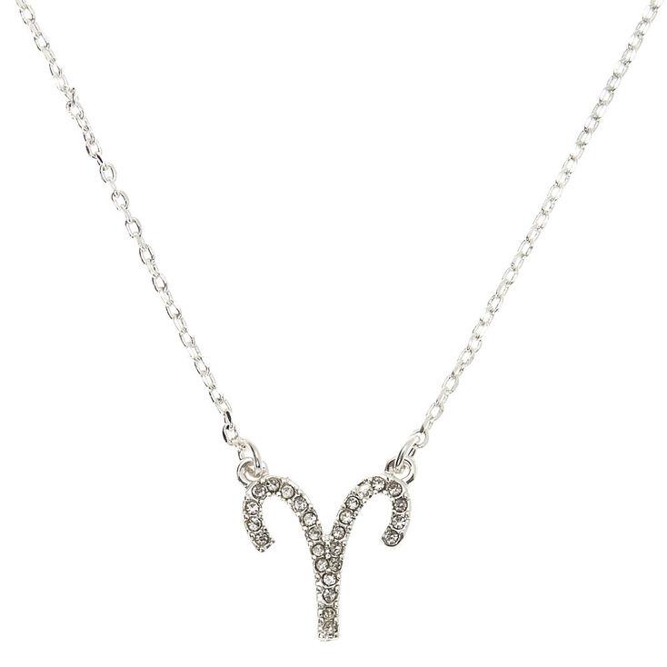 Silver Zodiac Pendant Necklace - Aries,