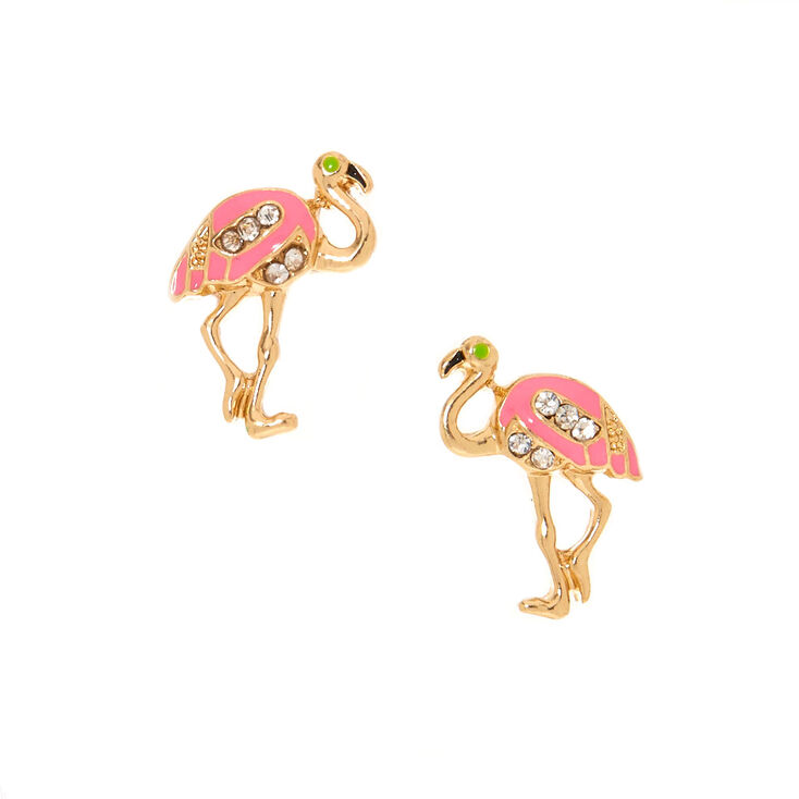Gold-Tone Flamingo Stud Earrings,