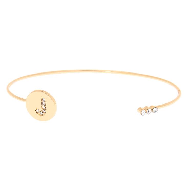 Gold Initial Cuff Bracelet - J,