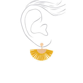 "Gold 1.5"" Suede Tassel Fan Drop Earrings - Yellow,"