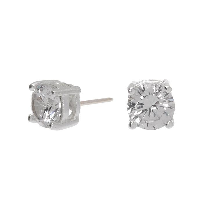 Sterling Silver Cubic Zirconia 4MM Round Basket Stud Earrings,