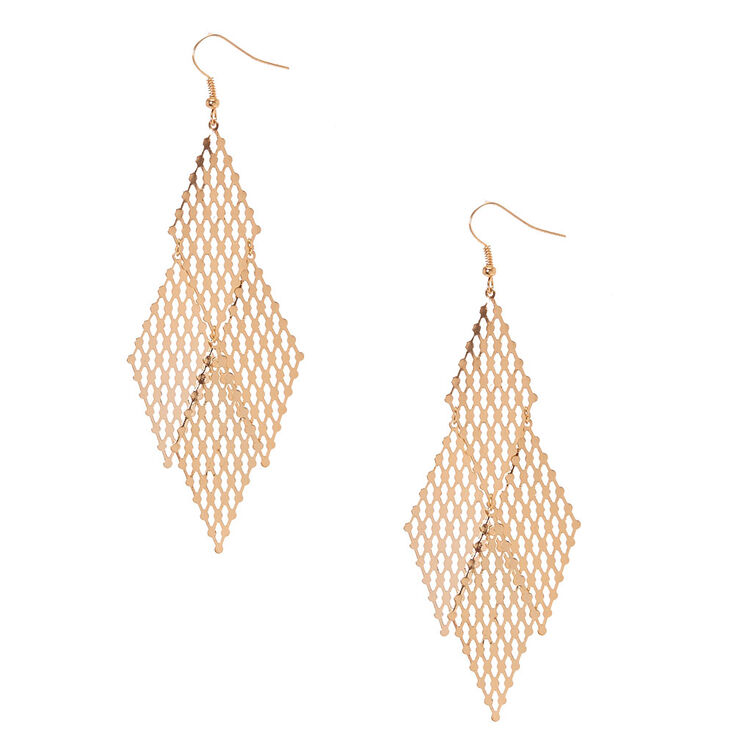 Gold Mesh Metal Drop Earrings