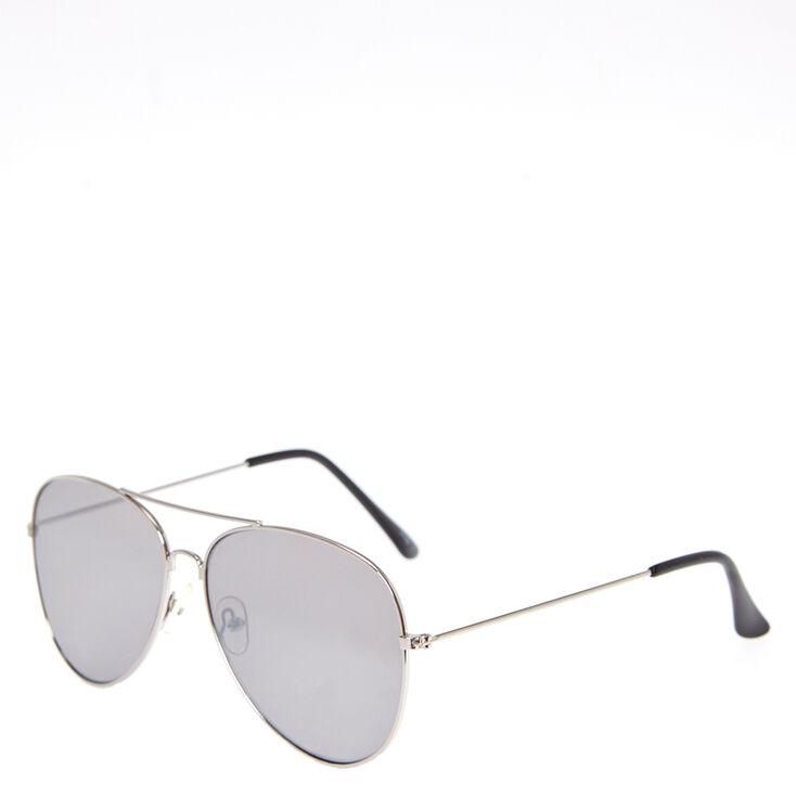 Silver-Tone Aviator Sunglasses,