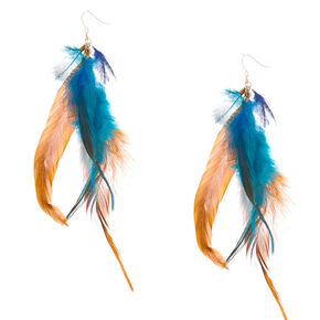 "5"" Elemental Feather Drop Earrings,"