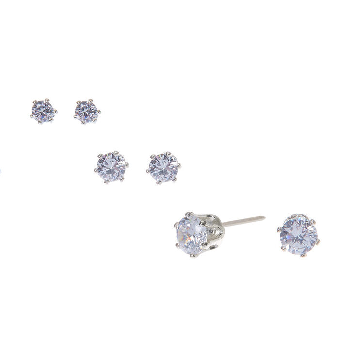 Silver Cubic Zirconia Graduated Round Stud Earrings - 3 Pack,