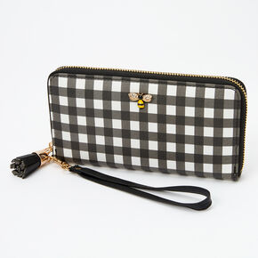 Gingham Honeybee Wristlet - Black,