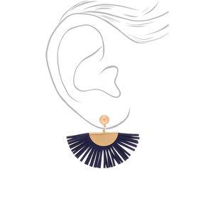 Gold & Suede Fan Drop Earrings - Navy,