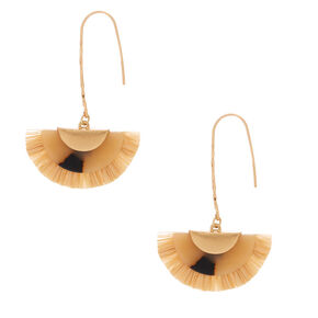 "Gold 2.5"" Resin Tortoiseshell & Raffia Drop Earrings,"