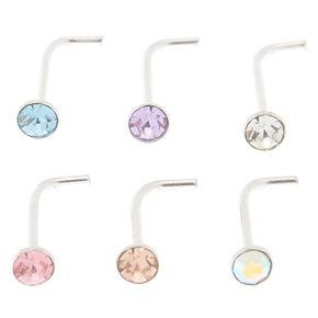 Sterling Silver 22G Pretty Nose Studs - 6 Pack,