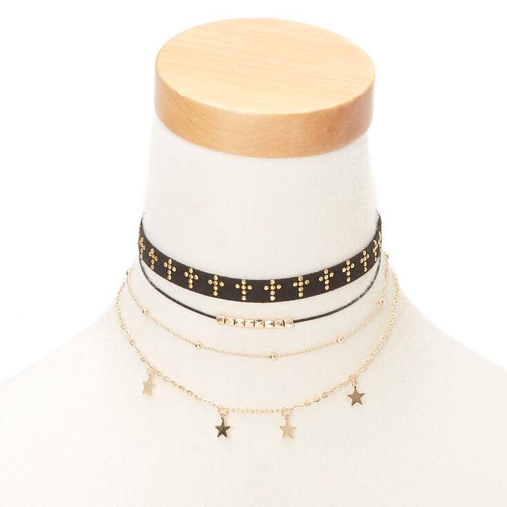 Gold Spiritual Choker Necklaces - Black, 5 Pack,