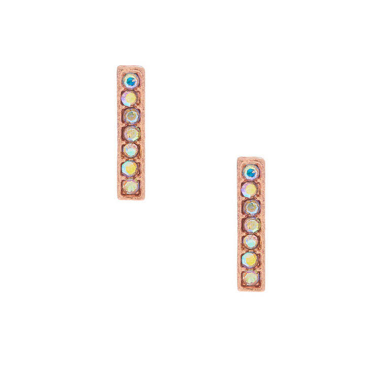 18kt Rose Gold Plated Iridescent Bar Earrings,