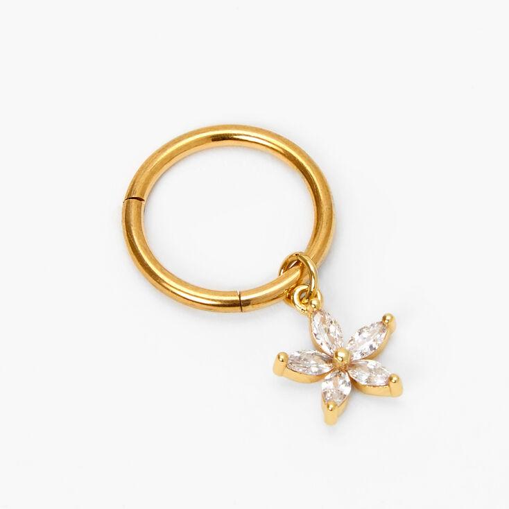 Gold 14G Flower Hoop Belly Ring,