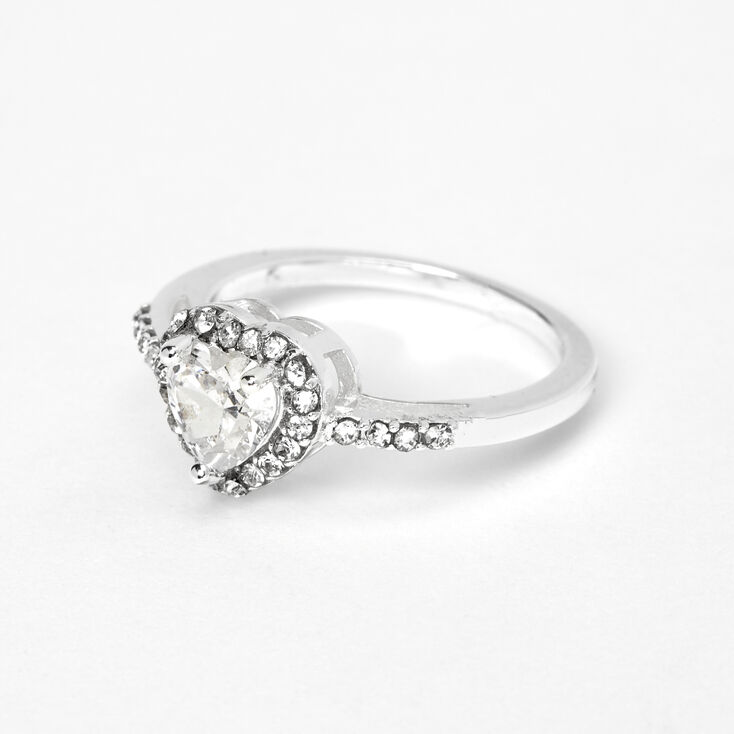 Silver Cubic Zirconia Halo Heart Ring,