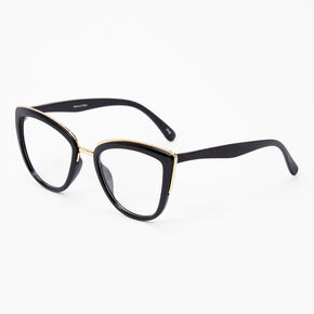 Cat Eye Gold Accent Clear Lens Frames - Black,