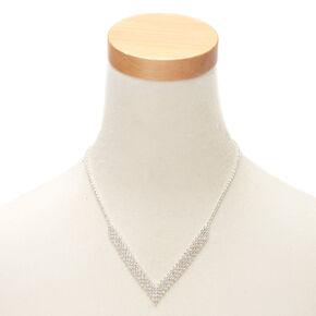 Silver Rhinestone Chevron Statement Necklace,