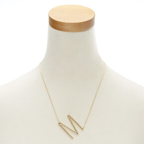 "XL ""M"" Initial Pendant Necklace,"