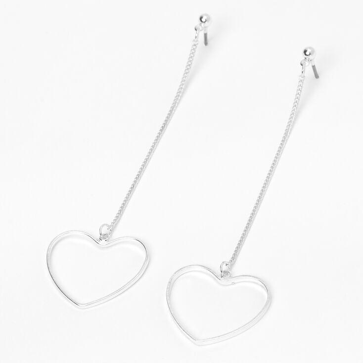 """Silver 3"""" Open Heart Linear Drop Earrings,"""