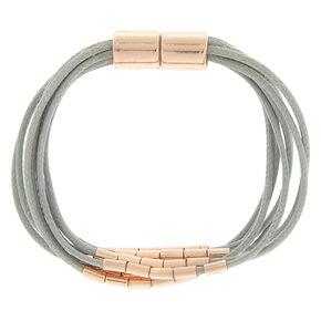 Rose Gold Beaded Wrap Bracelet - Gray,