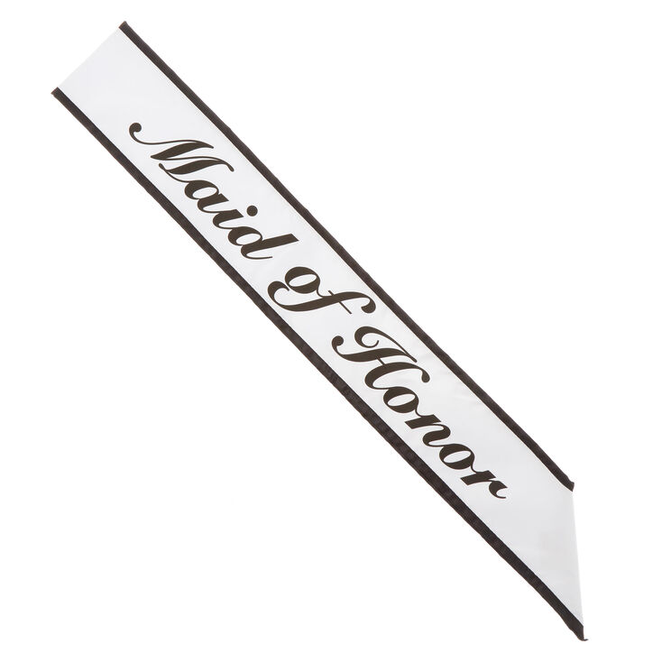 Black & White Maid of Honor Sash,