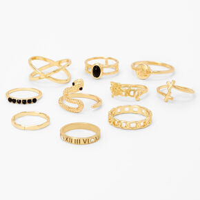 Gold Mixed Stone Snake Rings - Black, 10 Pack,