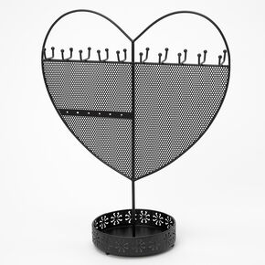 Heart Standing Jewelry Holder - Black,